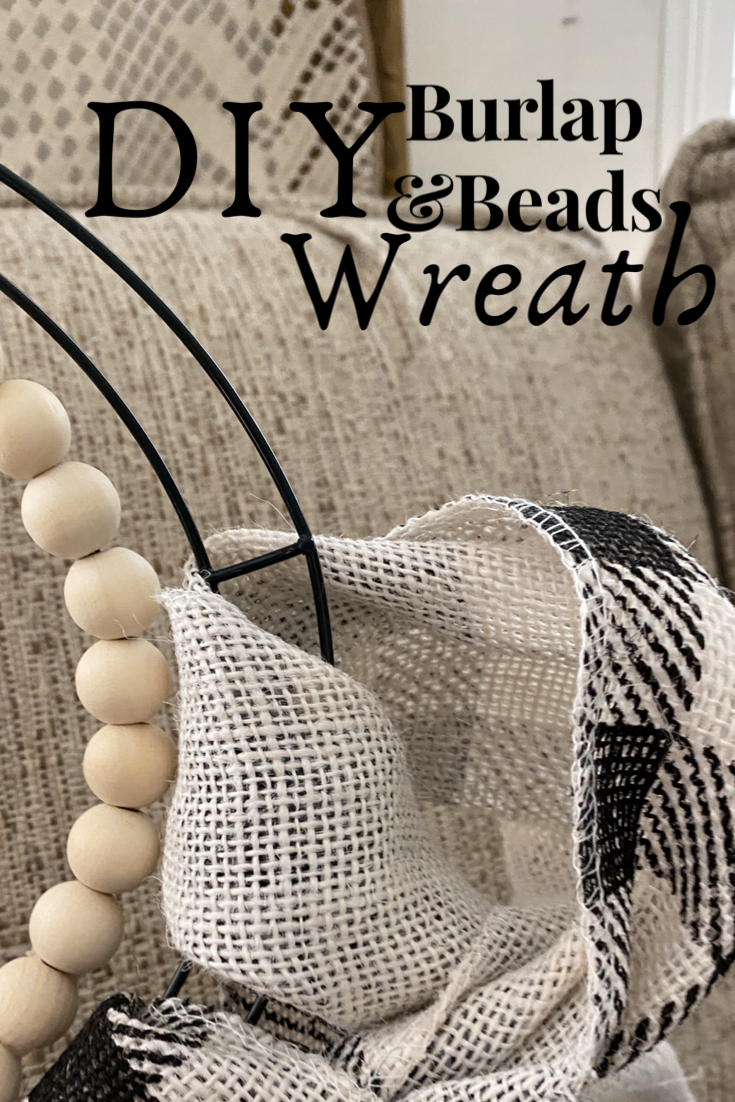 DIY, Wood Beads, Wire Wreath, Burlap.